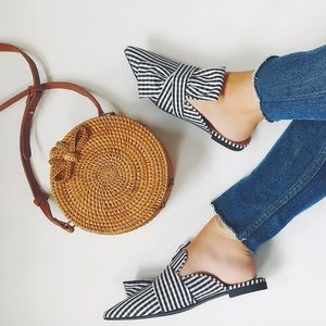 Shoes - 🆕Chelsea Gingham Black & White Pointy Toe Mules